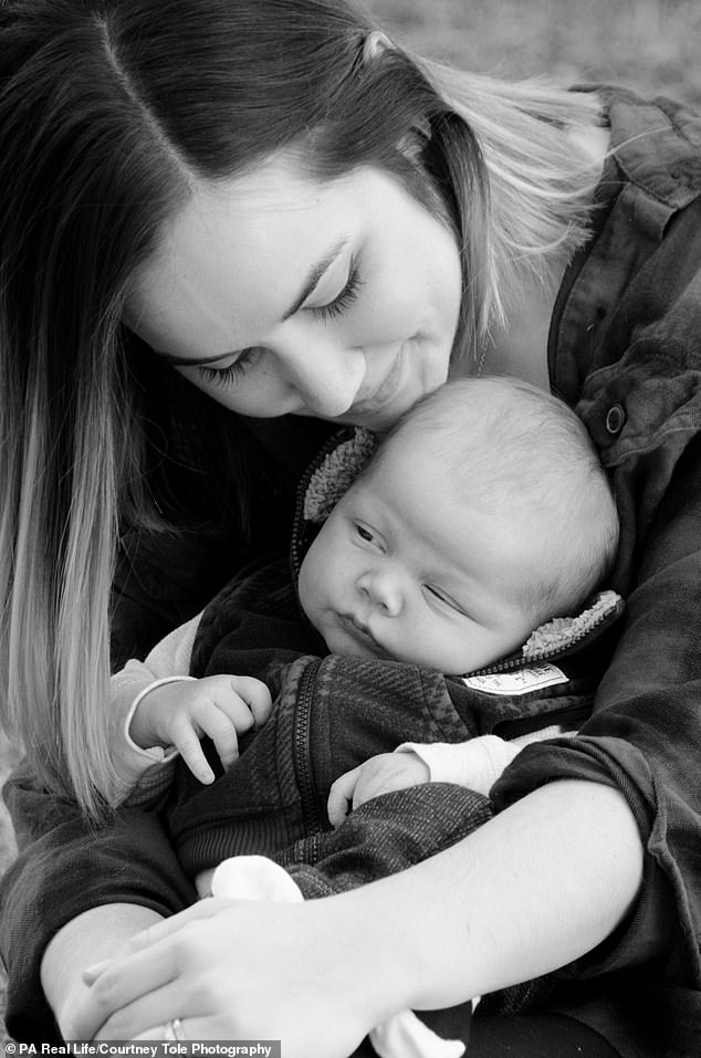 Now the Christians - who met at church and eventually married in September 2009 - are proud parents to Holden, one, after Mrs Coussens (pictured with Holden) underwent therapy