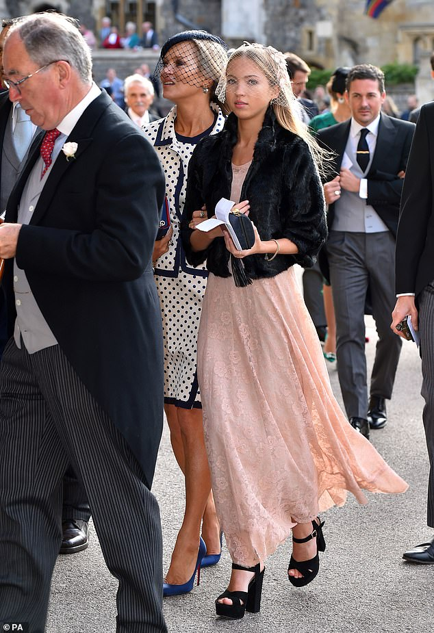 Perfect pair:Lila nailed her youthful yet sophisticated wedding style as she wore a billowing pink dress comprising of lace material and an ankle skimming hemline