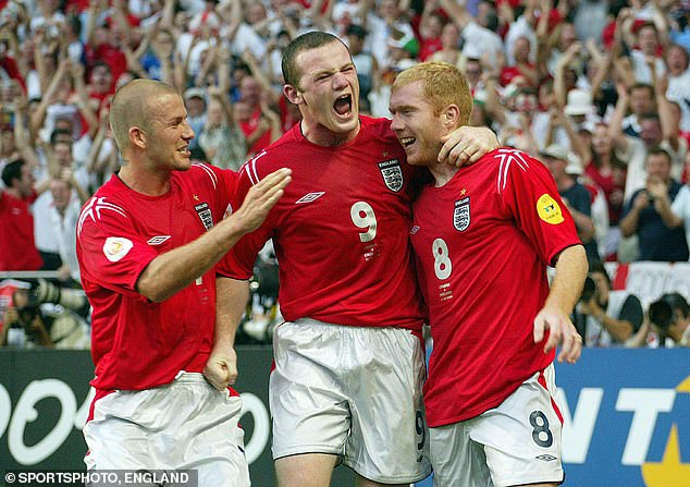 Wayne Rooney roars with David Beckham and Paul Scholes after a dream double at Euro 2004