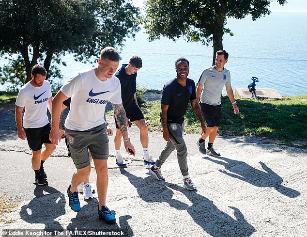 England's players relaxed with a walk in before their Nations League clash with Croatia