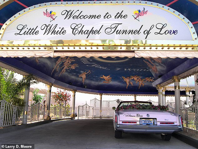 For those wanting to tie the knot without leaving their car, they could head to the Tunnel of Love in Las Vegas, pictured