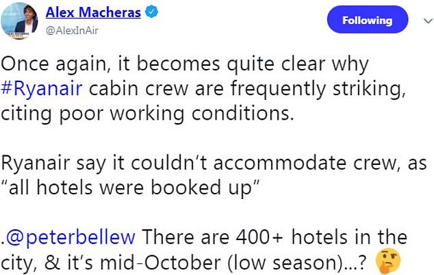 Aviation expert Alex Macheras was surprised that a hotel couldn't be found for the crew