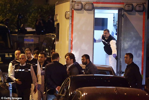 Officers could be seen jumping out of the back of the vehicle and heading towards the busy consulate