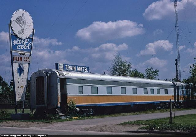 Taken in 1980, this shot shows the Sioux Chief Train Motel in Sioux Falls, South Dakota. When the business failed the cars were sold off separately to private businesses