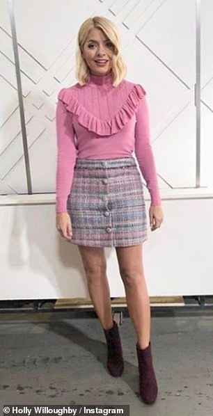 Chic and cheerful: Holly's mini skirt was a crowd pleaser with 85,000 likes and was liked by John
