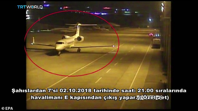 A frame grab from a police CCTV video made available through Turkish Newspaper Sabah shows a private jet alleged to have ferried in a group of Saudi men suspected of being involved in Khashoggi's disappearance