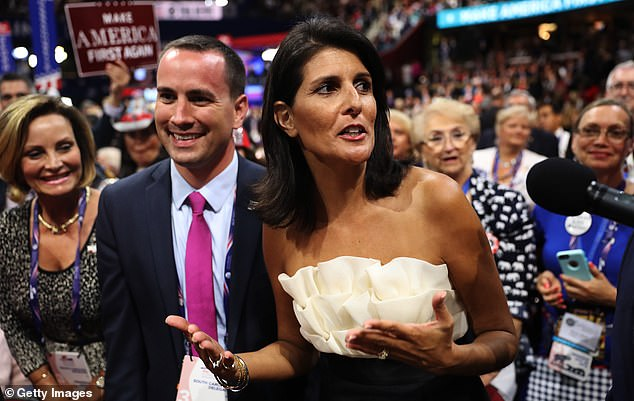 Haley said that she told Trump in 2016: 'Honestly, I don't even know what the UN does.' She is seen at the 2016 Republican National Convention