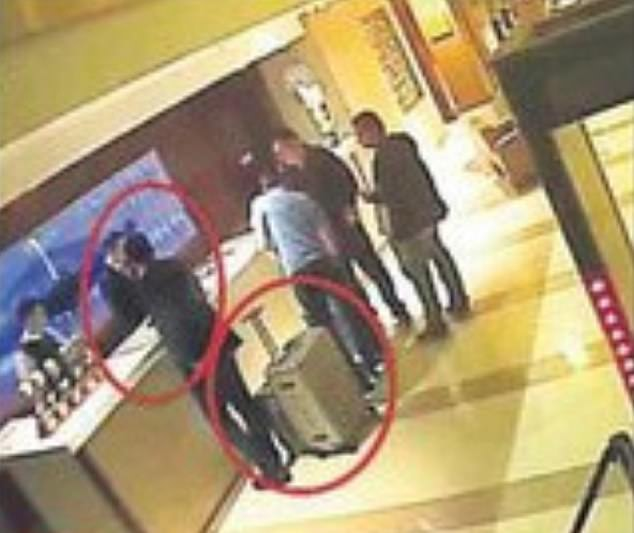 According to Sabah, this CCTV image shows Mutreb 'and his people' with a large suitcase at a hotel in Turkey