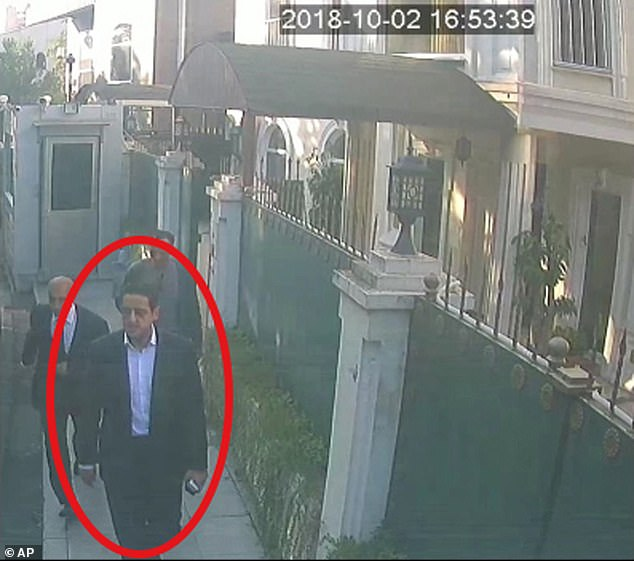 Another CCTV image claims to show Mutreb outside the Saudi consul general's residence later in the day at 16.53. CNN reports that a source claims he played a 'pivotal role' in the disappearance of the Washington Post journalist