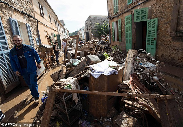 Forecasters are predicting that eastern Spain is going to be hit with a deluge of rain and flooding ahead of the half-term holidays. Pictured is flood damage in Majorca last week after flash floods
