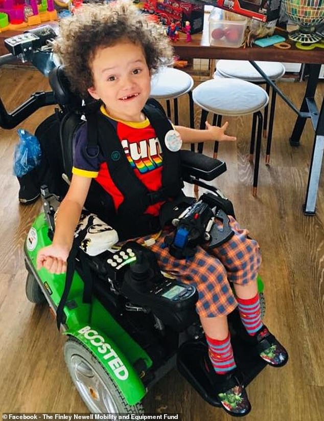 Finley Newell, five, was first diagnosed with spinal muscular atrophy when he was one and it has left him too weak to walk or swallow food on his own