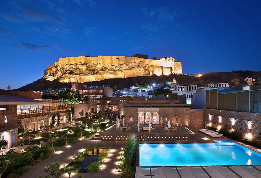 The stunning Raas Jodhpur hotel, where guests will eat local cuisine al fresco while taking in the expansive and awe-inspiring landscape the property is surrounded by