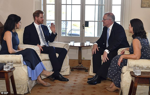 The Duke and Duchess of Sussex also stopped at Kirribilli House in Sydney on Friday evening, where they met Australia's Prime Minister Scott Morrison and his wife Jenny Morrison