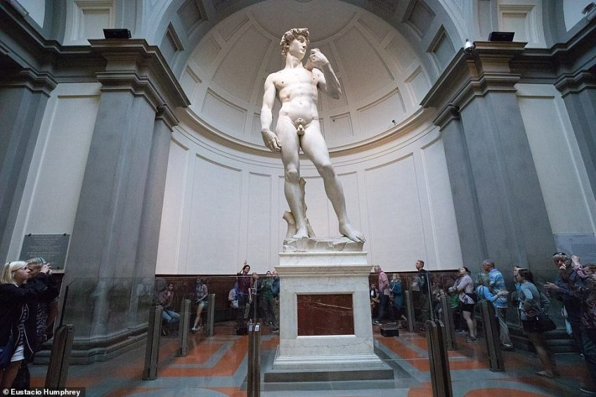 The David statue inside the Accademia Gallery in Florence. Those wanting to beat the crowds can book an early morning tour for entry an hour and a half before the crowds