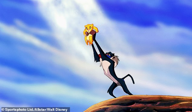 Rafiki holds newborn Simba up in the original 1994 movie in one of the film's much-loved scenes