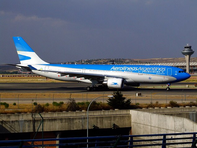 In a statement Aerolineas Argentinas said the turbulence happened during a 'cruise' phase of the flight. Pictured is one of the airline's Airbus A330s