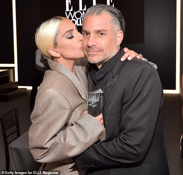 Exciting: Lady Gaga, 32, confirmed her engagement withChristian Carino, 49, Monday while attending the Women in Hollywood Awards in Beverley Hills, California