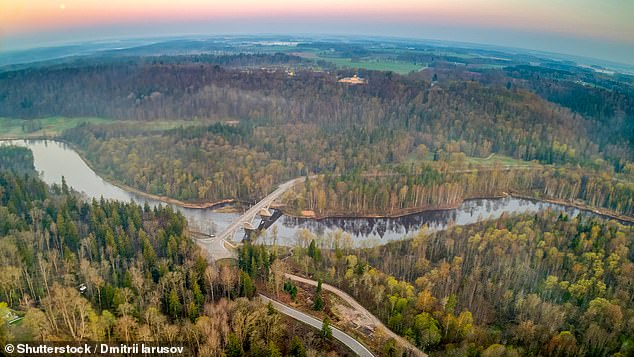 The bunker is accessible only through the back door of the Sixties rehabilitation centre above it in Ligatne, 50 miles from Riga in the Gauja National Park (pictured)