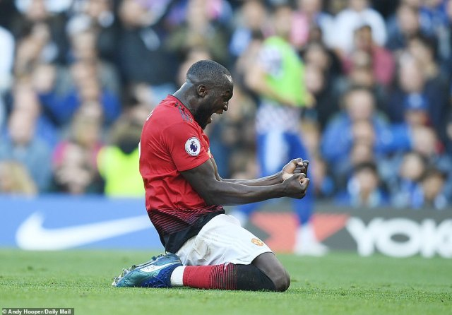 Former Chelsea striker Romelu Lukaku sunk to his knees and let out a roar of celebration as Martial scored the second goal