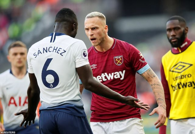 The Colombian defender clashed with the West Ham forward afterArnautovic dispossessed Sanchez from a goal kick