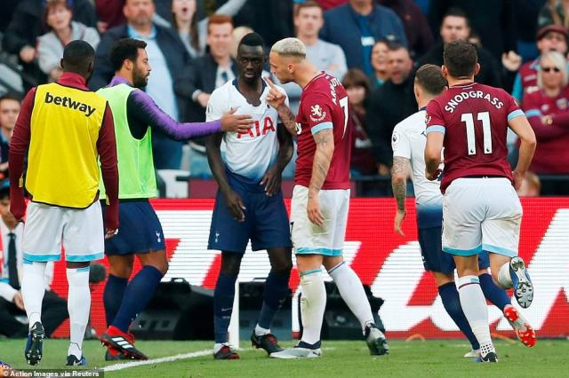 The hot-tempered London derby saw a coming together fromArnautovic (No 7) and Davinson Sanchez in the second half
