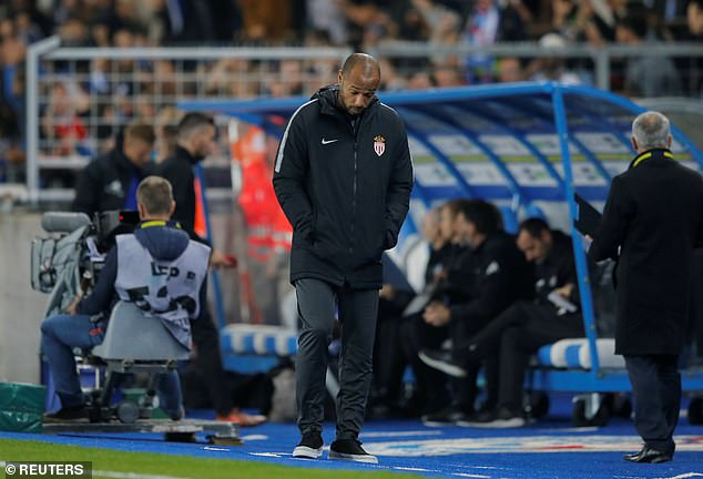 Monaco manager Thierry Henry reacts after his side go behind in the Ligue 1 encounter