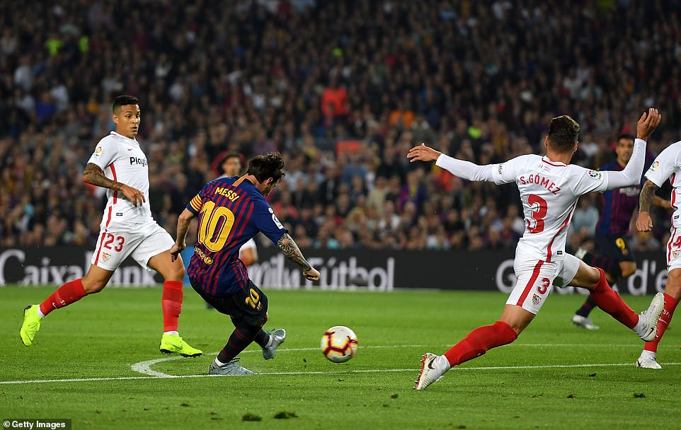 Lionel Messi scored a superb solo effort shortly after, curling in with his left foot to double the home side's advantage