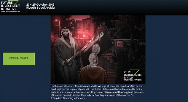 The website for Saudi Arabia's 'Davos in the desert' summit was hacked on Monday to show Crown Prince Mohammed bin Salman appearing to behead Jamal Khashoggi.
