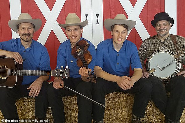 The family was memorable because they had strict religious beliefs and had also formed a bluegrass band. Jacob is shown center and his brother Jason is next to him on the right. Their other two brothers were not at home at the time of the attack. Their father is shown, far right.