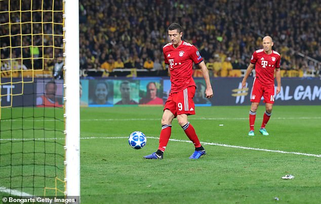 Robert Lewandowski doubles Bayern Munich's lead as they eased to victory in Greece