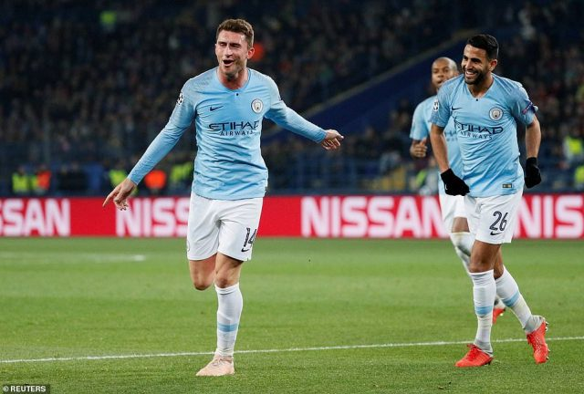 Laporte celebrates after scoring his and his side's second goal of the Champions League Group F match on Tuesday night