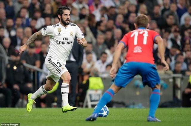Real Madrid playmaker Isco looks for a way through as Viktoria Plzen'sPatrik Hrosovsky pays close attention