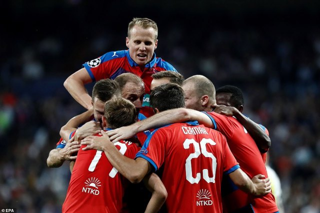 The Czech minnows celebrate after scoring at the Bernabeu but they were unable to muster a dramatic equaliser