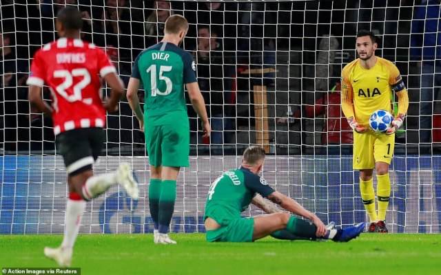 Defender Alderweireld sat on the pitch and looked dejected as Lloris retrieved the ball from the net while Eric Dier looked on