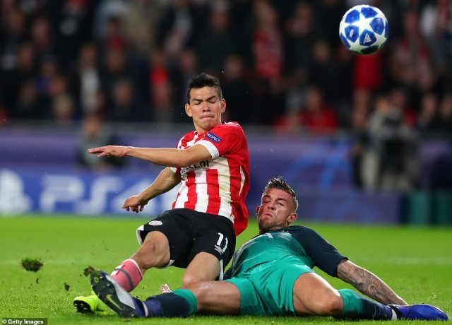 Lozano capitalised on an error by centre back Alderweireld who gave the ball away and then deflected a shot into his own net