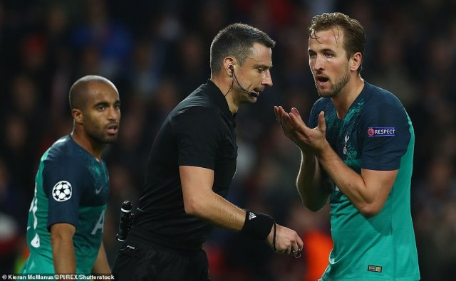 Kane argued with refereeVincic but the goal remained ruled out, leaving visitors Spurs with a lot of work to do in Eindhoven