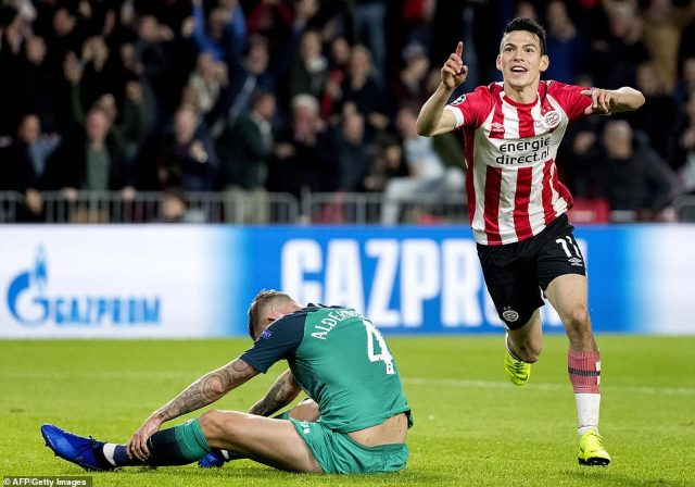 Tottenham had fallen behind when PSV's Hirving Lozano punished an error by former Ajax aceToby Alderweireld