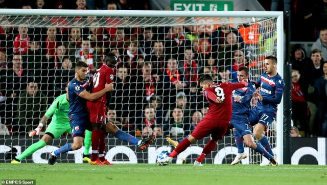 Liverpool's Roberto Firmino scores his side's first goal of the game against Red Star Belgrade at Anfield on Wednesday night