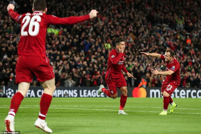 Brazilian forward Firmino celebrates after breaking the deadlock in the Champions League tie in the 20th minute