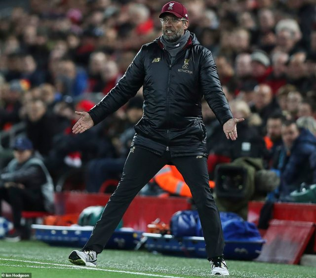 Liverpool manager Jurgen Klopp issues instructions from the touchline in the first half as his side headed into break 2-0 up