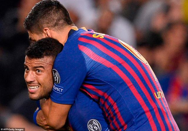 Suarez jumped on Rafinha's back as Ernesto Valverde's side turned their possession into an opening goal