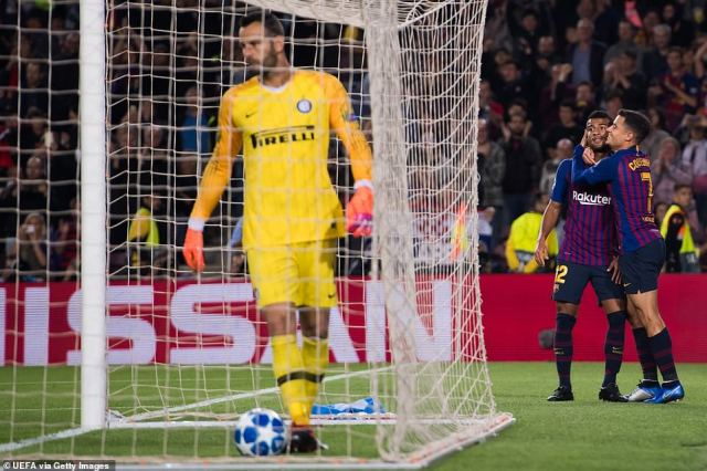 Philippe Coutinho gave his compatriot a hug as Samir Handanovic was forced to pick the ball back out of his net