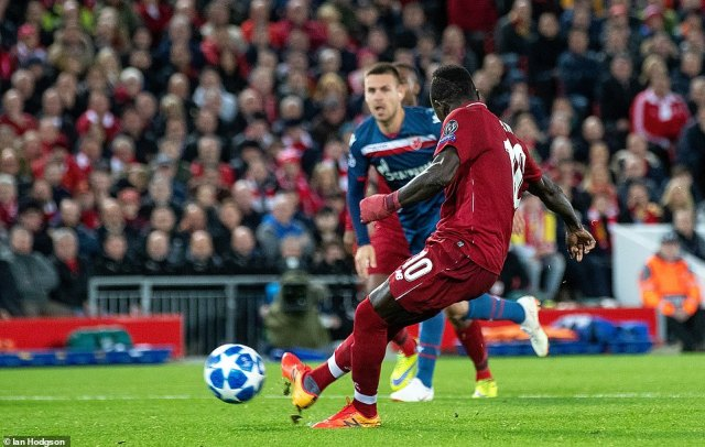 Liverpool's Mane saw his spot-kick in the second half saved by Red Star Belgrade goalkeeperMilan Borjan on Wednesday
