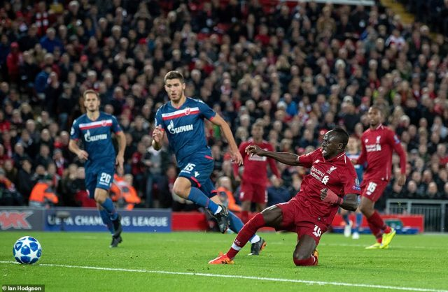 Liverpool's Sadio Mane scored his side's fourth goal of the game in the 80th minute of the Group C fixture at Anfield