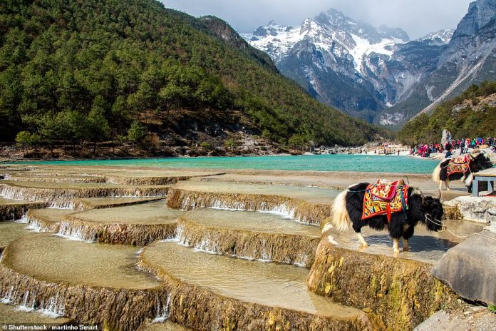 The Blue Moon Valley, as shown, takes its name from the eye-catching color of the river near the Jade Dragon Snow Mountain in Yunnan. The river is fed by melting snow and ice that runs down from the summit