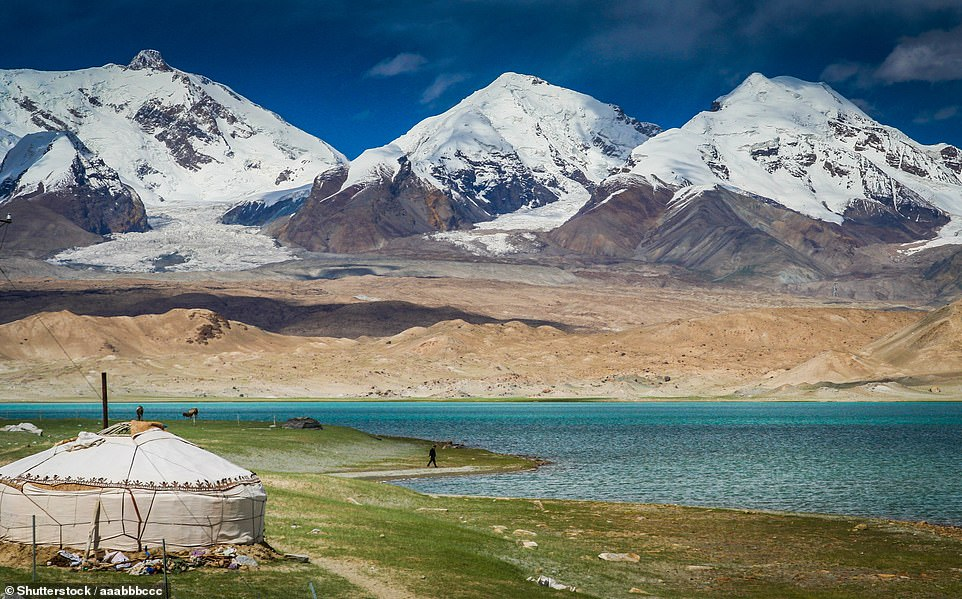 The Karakul Lake in Xinjiang, an autonomous region in northwestern China. There are two Kyrgyz settlements on the shores of the lake and here is a traditional Kyrgyz yurt