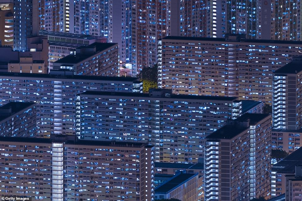 Hong Kong is one of the most densely populated areas of the world. This picture of his skyscrapers is hypnotic