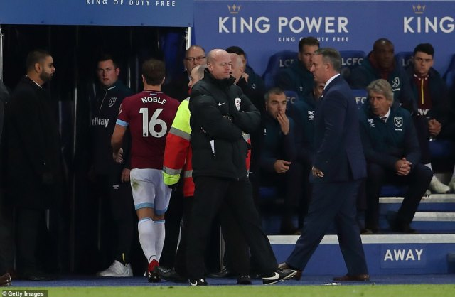 Noble was left staggered at the decision to show him a straight red card but he eventually trudged off and down the tunnel