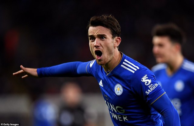 Leicester's Ben Chilwell, looking to impress in front of England boss Gareth Southgate, barked instructions to his team-mates