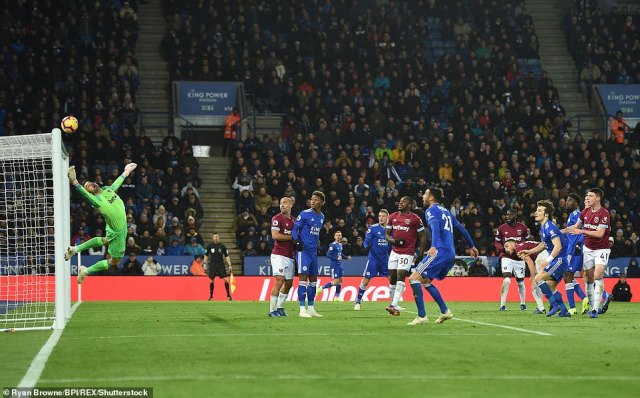 The Foxes defender rose highest, connected firmly as Fabianski was at full stretch as he watched the ball clatter the bar